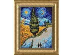 """""""The Road with Cypress and Star"""" - a picture by Vincent Van Gogh (photo stitch)"""