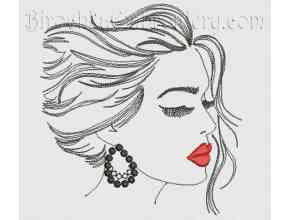 Machine Embroidery Design Girl with scarlet lips