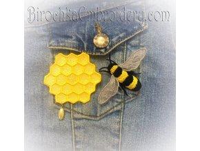 Пчела и Мёд броши ФСЛ Дизайны машинной вышивки
