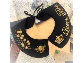 Воротник с вышивкой «Королева пчела» дизайн машинной вышивки