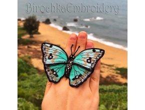Прекрасная бабочка 3Д на органзе плюс ФСЛ дизайн машинной вышивки