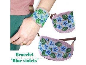 Браслет Голубые фиалки Дизайн машинной вышивки