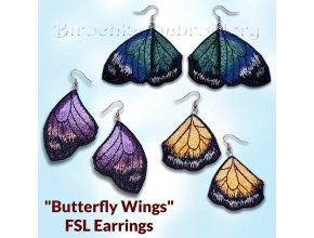 Крылья бабочки Серьги ФСЛ Дизайн машинной вышивки