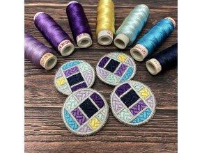 Decorative buttons on felt Machine embroidery design