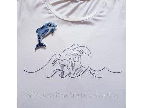 Дельфин и море, набор дизайнов брошь и вышивка