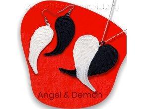 Ангел и демон Серьги и кулон Дизайн машинной вышивки