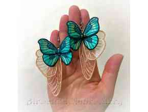 The gentleness of a butterfly earrings Machine embroidery design