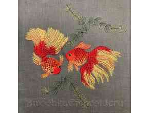 Goldfish machine embroidery design in the art surface technique