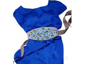 Пояс Голубые фиалки Дизайн машинной вышивки