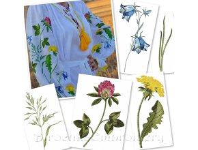 Полевые цветы и травы Набор дизайнов машинной вышивки в технике художественная гладь