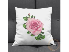 Розовая роза. Дизайн машинной вышивки.
