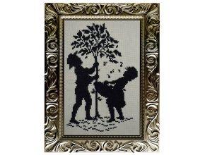 Дерево французский крестик монохром
