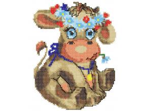 Корова с ромашками крестиком