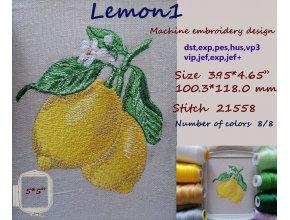 Дизайн машинной вышивки Лимон 1