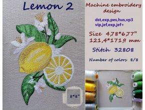 Дизайн машинной вышивки Лимон 2