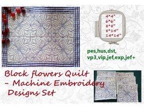 Лоскутное одеяло с цветами Набор дизайнов машинной вышивки