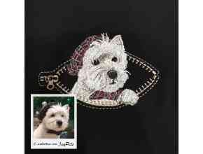 Дизайн машинной вышивки по фото питомца на заказ «в кармашке» для вышивки на футболках и аксессуарах