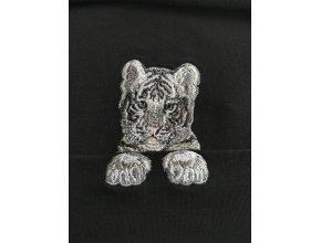 Тигренок с отдельными лапками Серый  Миниатюрный реалистичный дизайн машинной вышивки