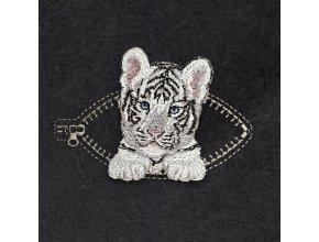 Тигренок в кармашке с молнией Серый Миниатюрный реалистичный дизайн машинной вышивки