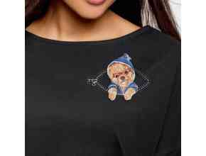 Шпиц в кармашке с молнией Миниатюрный реалистичный дизайн машинной вышивки