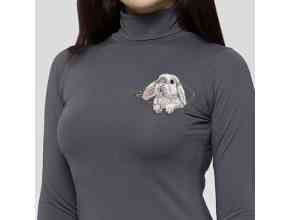 Кролик в кармашке с молнией Миниатюрный реалистичный дизайн машинной вышивки