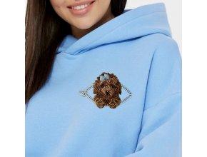 Пудель милый кудряшка в кармашке с молнией Миниатюрный реалистичный дизайн машинной вышивки