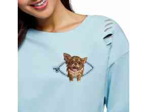 Чихуахуа в кармашке с молнией Миниатюрный реалистичный дизайн машинной вышивки