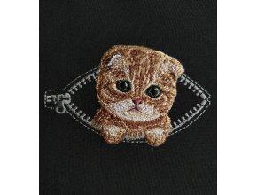 Рыжий котенок в кармашке с молнией Миниатюрный реалистичный дизайн машинной вышивки