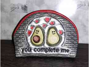 Machine embroidery design cosmetic bag. You complement me.