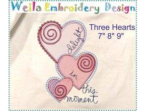 Три сердца Дизайн машинной вышивки WD019
