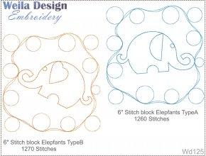 Слоны 15x15 узор для стегания на вышивальной машине WD125